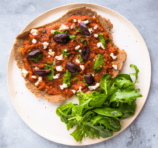 Embrace your cravings with plant-based cheesy pizza.